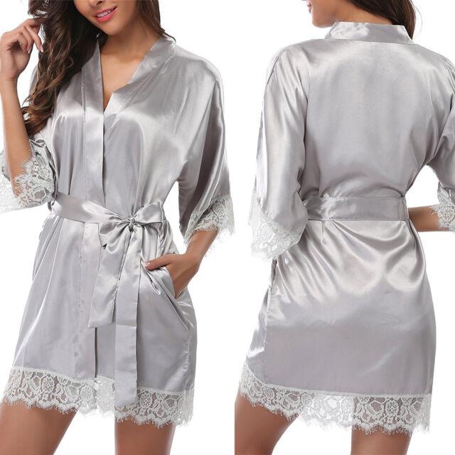 Women Silk Satin Robes Bridal Wedding Bridesmaid Bride Gown bath robe Bingqiling