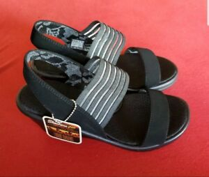 6188a190aab1 New Skechers Black Wedge Sci Fi Sandals Comfort Wicking Memory Foam ...