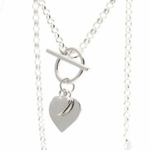 Sterling-Silver-Belcher-Chain-with-T-bar-and-Hearts-41cm-16-034-Necklace