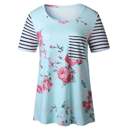Damen Kurzarm Bluse Blumen Top Lose T-shirt Shirts Oberteile Hemd Freizeit S-3XL