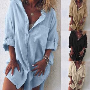 Mode-Femme-Chemise-Loisir-Manche-Longue-Revers-Casuel-en-vrac-Haut-Jupe-Plus