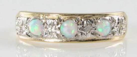 DIVINE 9K 9CT gold AUS OPAL DIAMOND ART DECO INS ETERNITY STAR RING FREE RESIZE