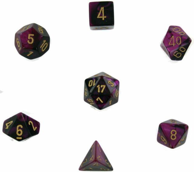 Chessex 26440 Gemini Black Purple Gold 7 Dice Set D&D