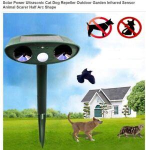 Image is loading Ultrasonic-Solar-Powered-Cat-Dog-Fox-Repeller-Animal-