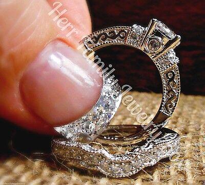 925 Sterling Silver 14k White Gold Round Diamond cut Wedding Ring 2pc Bridal Set