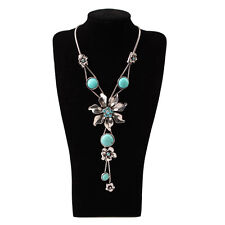 Hot Selling Fashion Flower Turquoise Necklace Pendant Blue Jewelry Women