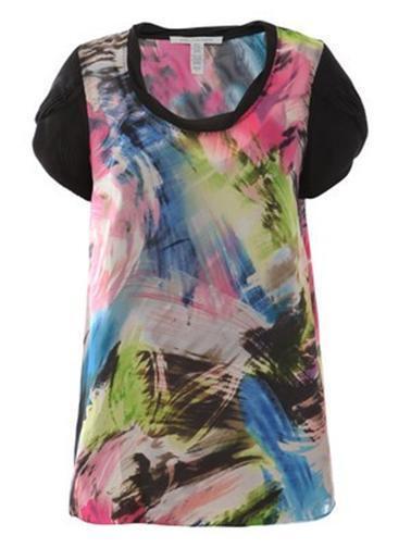 DVF Diane Von Furstenberg CLEMENCE Silk Top Blouse Storm pink 6 US