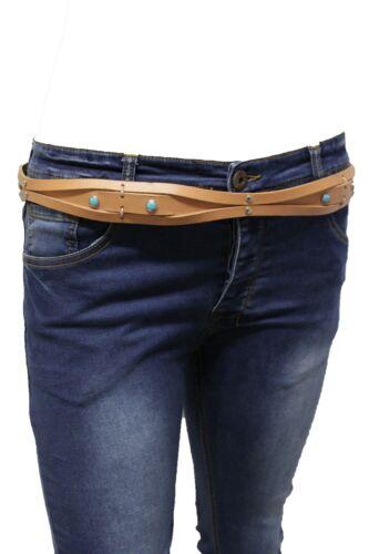Women Western Fashion Tie Belt Beige Fabric Band Studs Blue Beads Plus M L XL