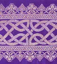 Purple Silk Brocade Metallic Jacquard Trim. Celtic Knot