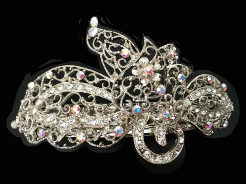 New Silver Filigree Iridescent  Rhinestone Silver 4/'/' Hair Barrette