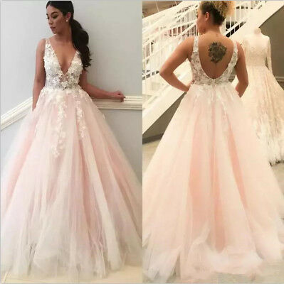 Blush Pink 3d Floral Tulle A Line Wedding Dress V Neck A Line Custom Bridal Gown Ebay