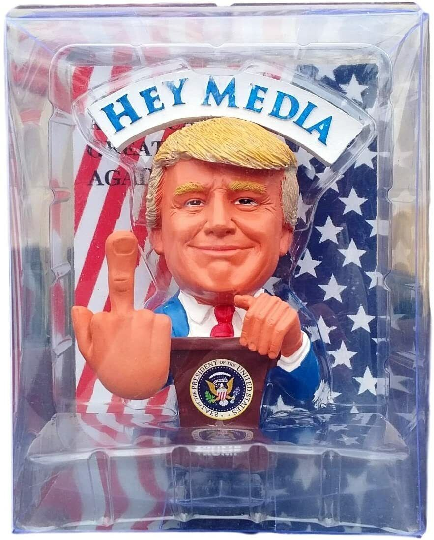 Donald Trump Bobblehead Doll Middle Finger F.U Media//Liberals President Figure