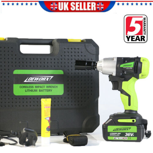 21V Cordless Impact Wrench Electric High Torque Driver Garage Power Tool DEWORX
