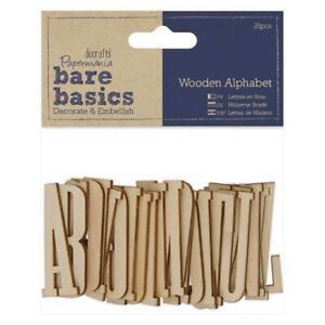 26 x Papermania Bare Basics Alfabeto 5cm in Legno Decorazioni Scrapbooking crafts