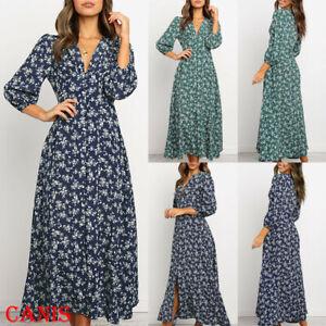 Autumn-New-Casual-Women-Pleated-3-4Long-Sleeve-VNeck-Floral-Boho-Long-Maxi-Dress