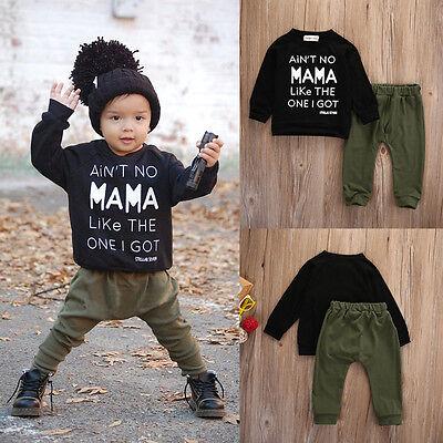 2pcs Newborn Toddler Kids Baby Boys Clothes Outfits T-shirt Tops+Pants Set