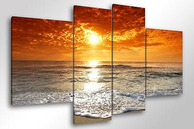 Quadro Moderno 4 Pz. Beach Sunset Cm 140x95 Tramonto Mare Arredo Stampa Su Tela Luminoso E Traslucido Nell'Apparenza