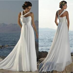 Cheap Simple Chiffon Beach Boho Wedding Dress Under 50 Lace Up Back