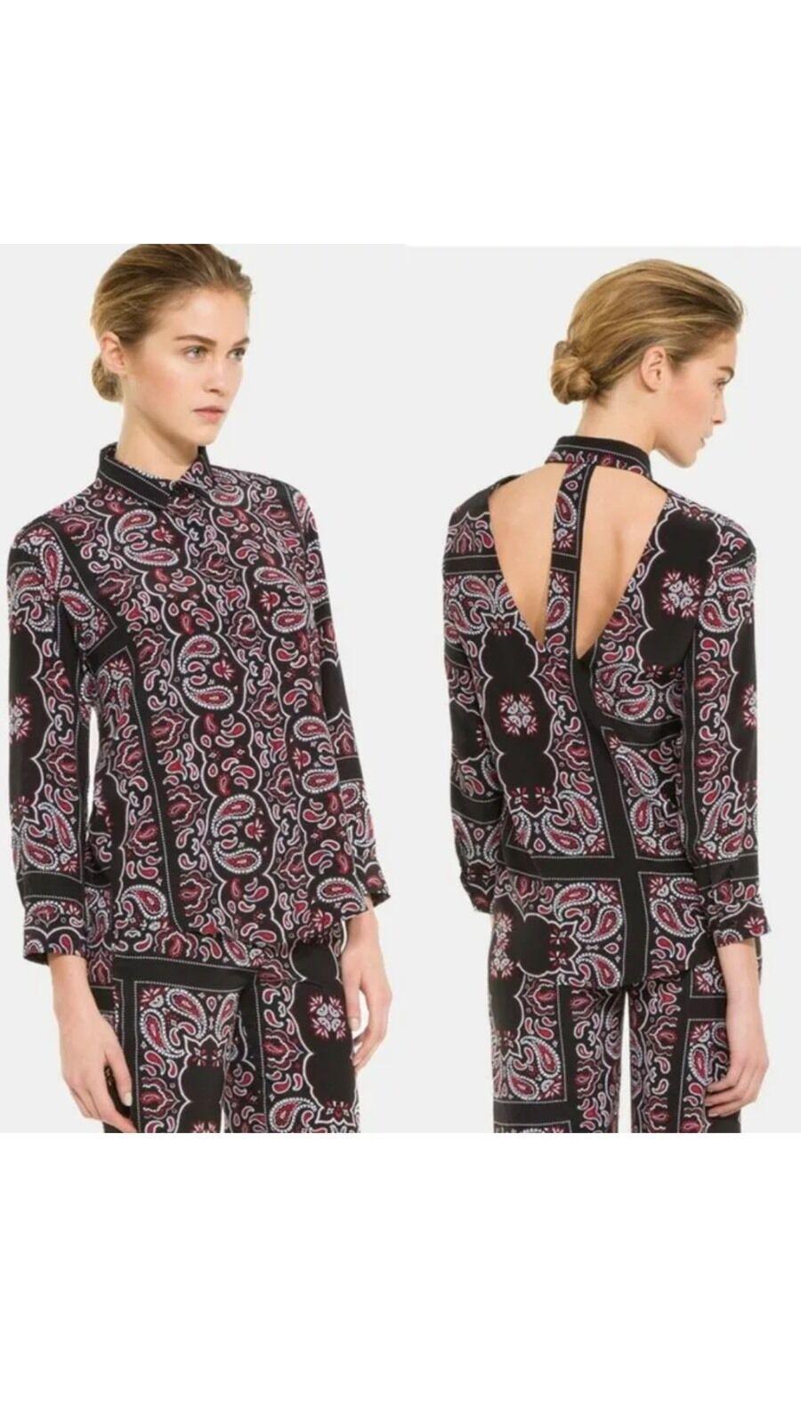 Rare Sandro Paris Cachemire Paisley Print Back Cutout Silk Blouse - schwarz rot