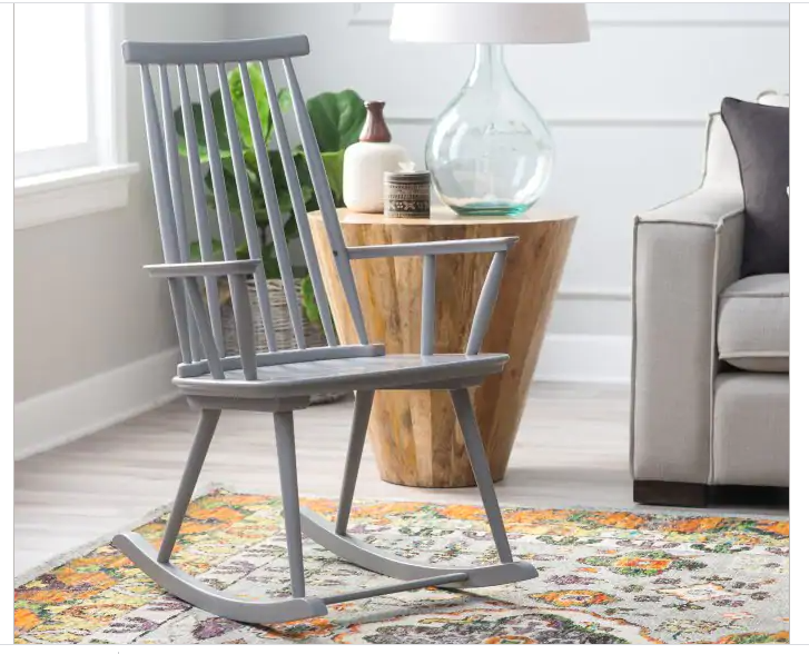 Upholstered Rocking Chair Gray Cushion