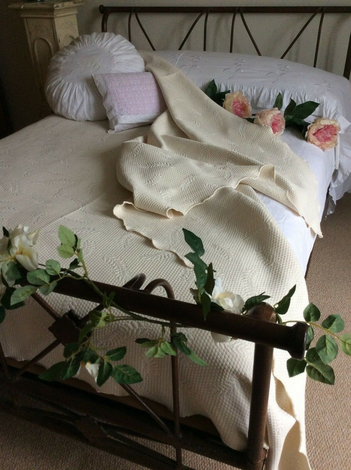 Beautiful HISPANOVA DesignerHuge Db Kg Cotton Bedspread Cover ThrowInterior BN