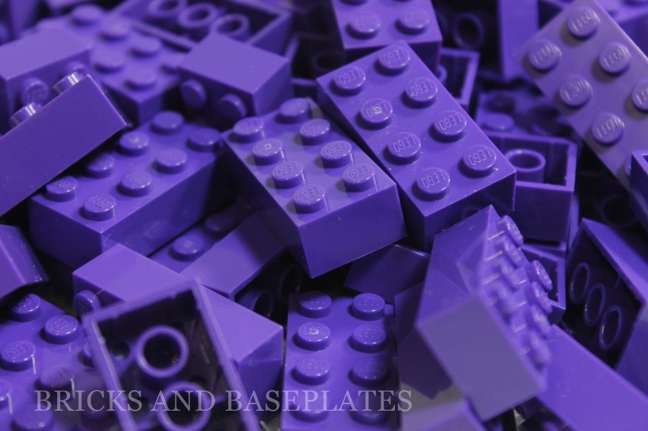 LEGO Mattoni 200 X Viola 2x4 PIN-Set da Nuovo  di Zecca inviati in un sacchetto trasparente sigillati  vendita all'ingrosso
