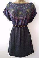 GREY FAIRISLE JUMPER DRESS SIZE S M L 8 10 12 14 16 NEW BEAD TIEWAIST KNIT TUNIC