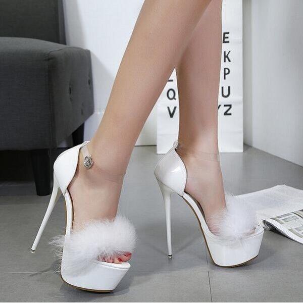 decolte stiletto 16 cm eleganti bianco aperto plateau cinturino simil pelle 38