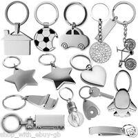 Metal Key Ring - Mothers Day Gift Star Heart Car House Diamante Chain Lightbulb