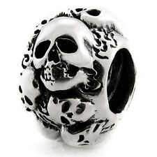 Skulls Genuine Solid Sterling Silver Charm OHM Bead WHA002