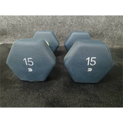 All In Motion 15lb Dumbbell Pair Blue Rubber Hex 30lbs Total*