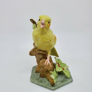 "Yellow Canary Bird Green Leaf Brown Branch Porcelain Figurine 4.75""h x 3.25"" Vtg"
