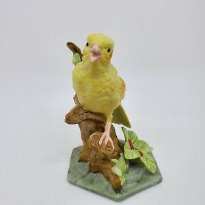 "Yellow Canary Bird Green Leaf Brown Branch Porcelain Figurine 4.75""h x 3.25"" Vtg"