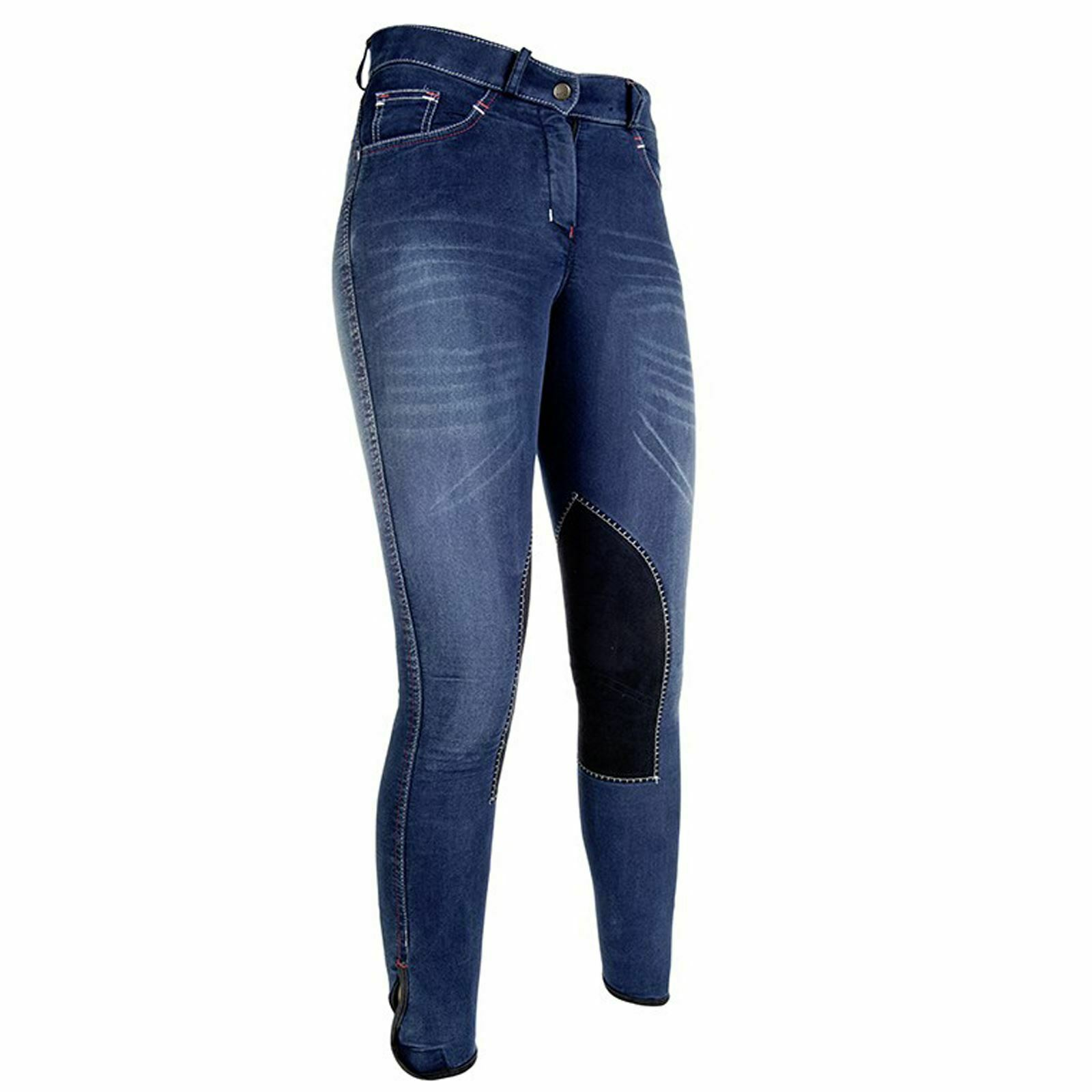HKM Adult Ladies Junior Summer Denim Alos  Knee Patch Horse Riding Jeans Breeches  special offer