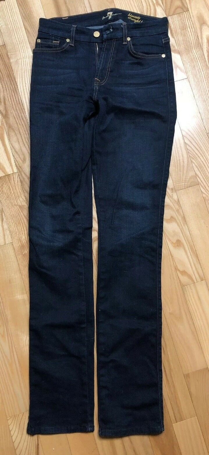 7 For All Mankind Women's Designer bluee Jeans Size 27 Kimmie Straight Leg Jeans