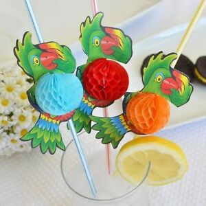 Set-of-8-Jumbo-Multi-Color-Parrot-Tropical-Straw-3D-Honeycomb-13-5-034