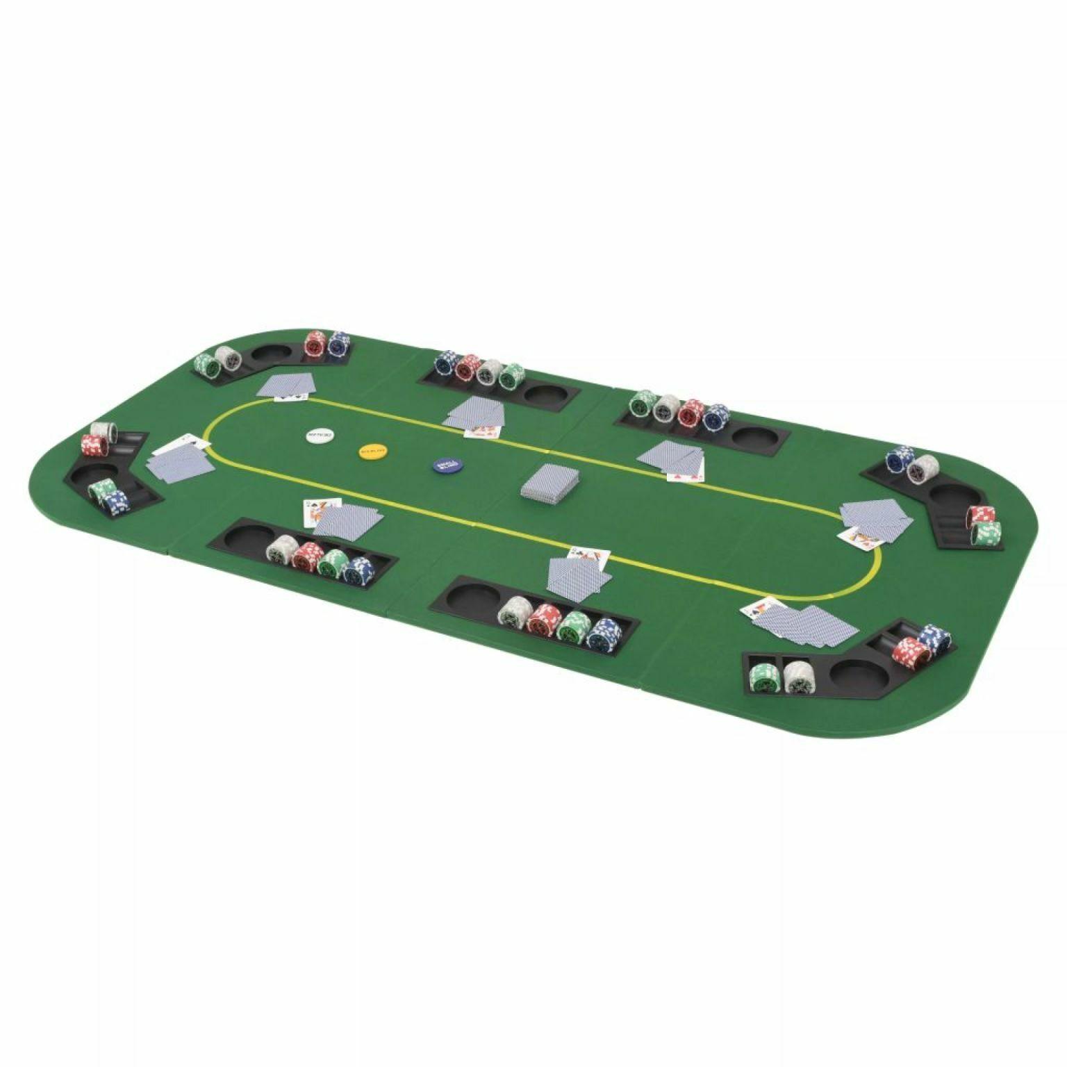VidaXL Dessus de table de poker  8 joueurs 4 plis rectangulaire Vert  en ligne au meilleur prix