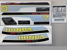 ATC 70 1980 Tank Frame Fender Decals Kit Stickers Set Honda Trike