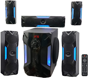 """Rockville HTS56 1000w 5.1 Channel Home Theatre System/bluetooth/usb+8"""" Subwoofer"""