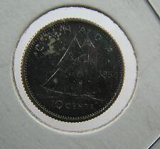 1958 Canada 10 cents Proof like nice toning