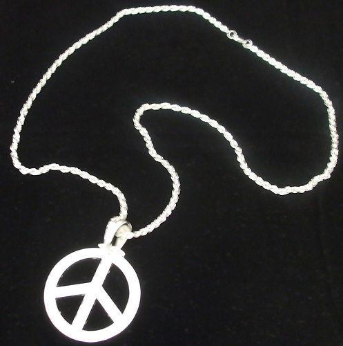 60s Hippie Médaillon robe fantaisie couleur argent la paix flower power CND collier