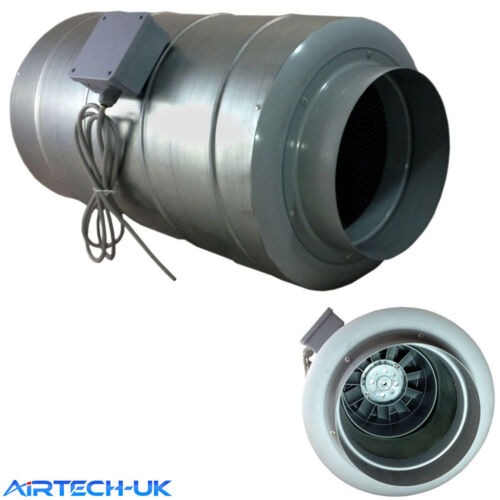 "150mm 6/"" Inline Silent Duct Fan /& Silencer Combined 520 m3//hr Ventilation"