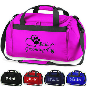 Details About Personalised Dog Cat Grooming Holdall Bag Pet Show Printed Glitter Travel Case