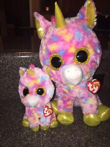 e2fdaba9707 Lot Of 2 TY Beanie Boos FANTASIA multi-colored Unicorn Large 17 ...
