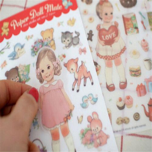 6Pack//Lot niedliche süße Mädchen Aufkleber Spielzeug schöne Mädchen Puppe  ZJP