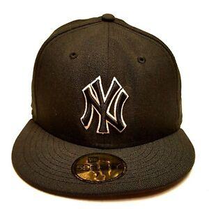 NEW ERA NEW YORK YANKEES 59Fifty Size 7 3 8 Black Wool Baseball Cap ... 313c08b2f81c