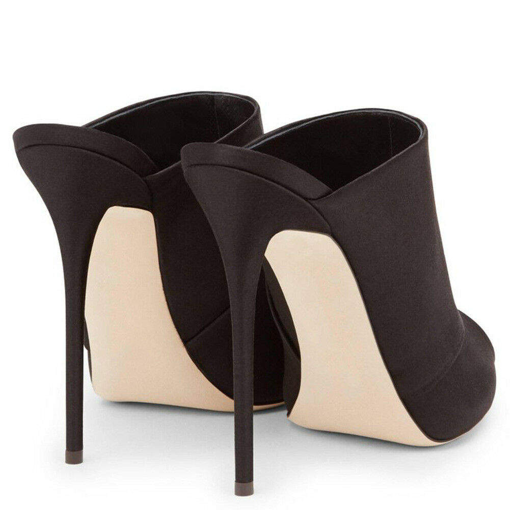 Mujeres Stiletto Mulas Negro Resbalón En Sandalias Puntera Puntera Puntera Abierta Tacón Alto Zapatos Sexy Slip On  barato en alta calidad