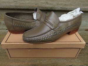 NEW-Hanover-Handsewn-Woven-Fullstrap-Leather-Loafers-Size-10-D-Made-in-Brazil