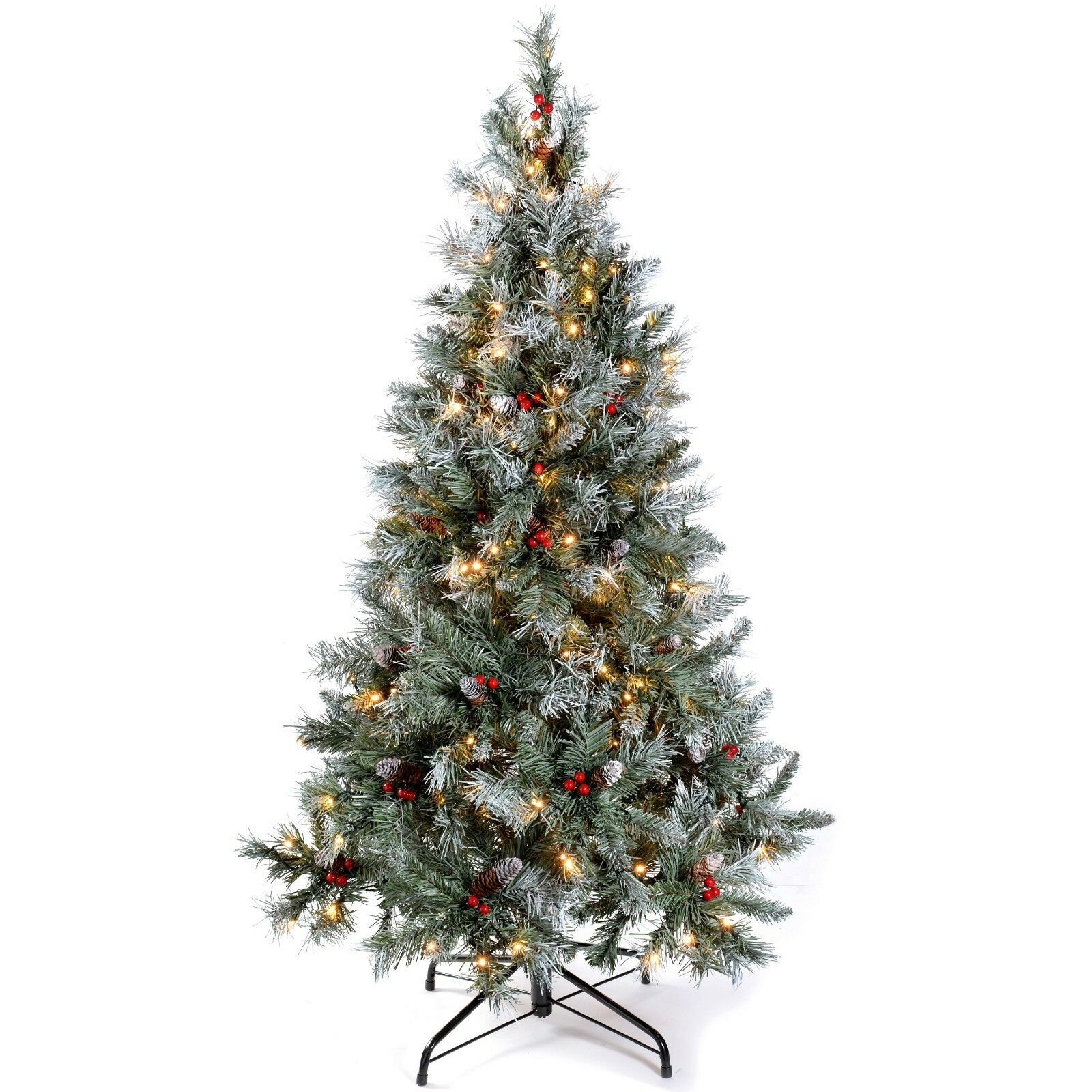 Pre-Lit Scandinavian Spruce Pine Cone and Berry Christmas Tree, 300 LEDs 6ft