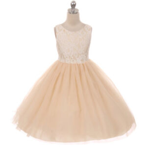 CHAMPAGNE Flower Girl Dress Gown Dance Birthday Bridesmaid Wedding Party Pageant